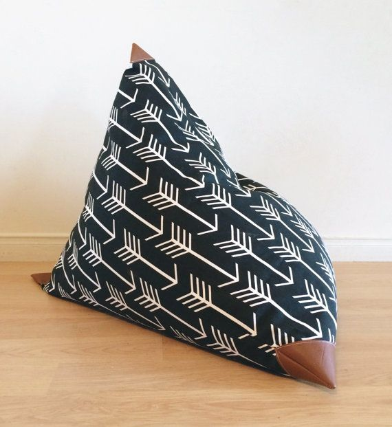 Kids Bean Bag  Pouf  Black and White Arrow and by Cyandegre