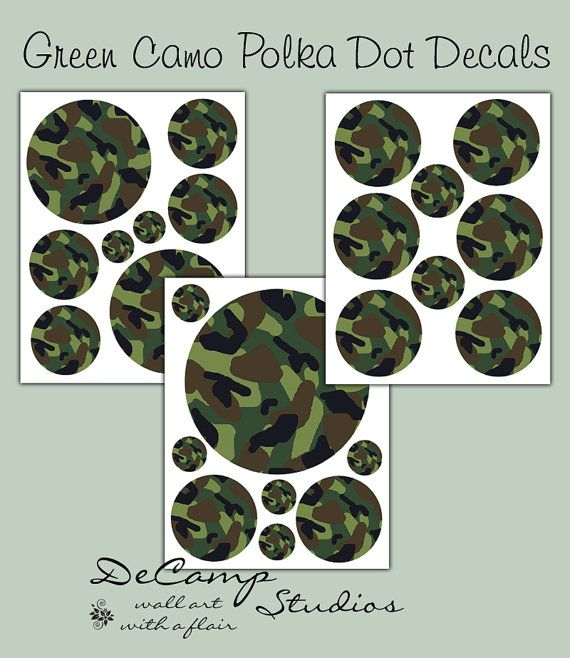 Green Camo Polka Dot wall decals for boys camouflage hunting army room or baby nursery decor #decampstudios