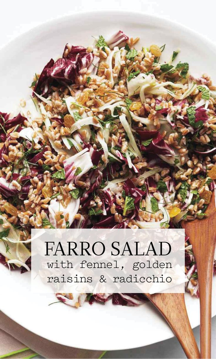 Farro Salad with Fennel, Golden Raisins, and Radicchio | Martha Stewart Living - You can toss the farro with the fennel mixture up to one day ahead; add the mint, radicchio, and fennel fronds just before serving.