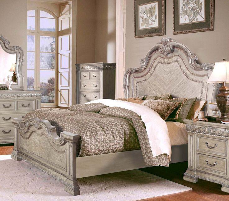 mcferran b539 q antique white queen sleigh bed