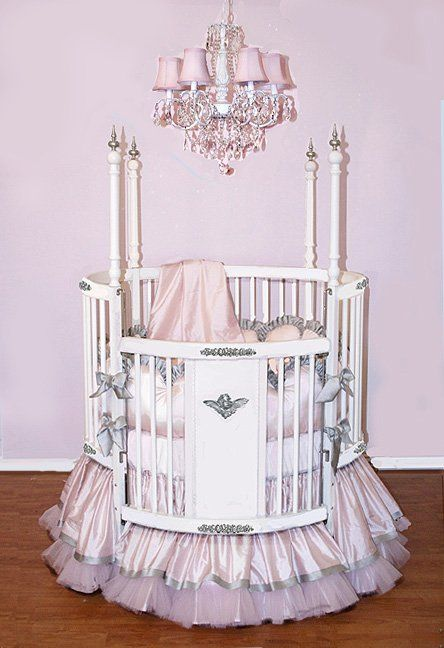 Beautiful pastel pink satin and tulle crib bedding!