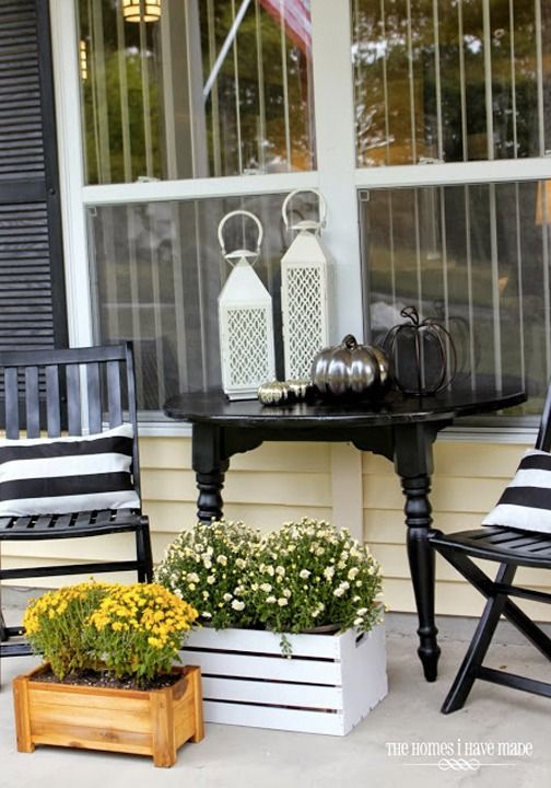Black And White Outdoor Furniture #37: Update Your Entryway This Fall With Classic Black And White Patio Furniture Paired With Colorful Flower