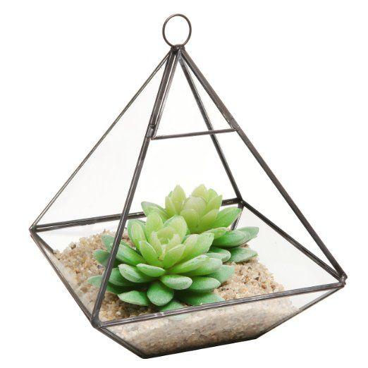 Hanging Clear Glass Prism Air Plant Terrarium / Tabletop Succulent Planter / Tea Light Candle Holder