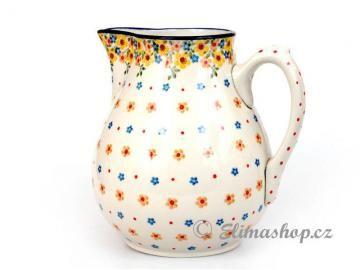 Spring pattern Big JUG 3 l . This Handmade Polish Pottery pitcher is from ELIMAshop.cz . Boleslawiec . Bunzlau . ceramics . stoneware . spring design ( džbán 3,0 l . jaro )
