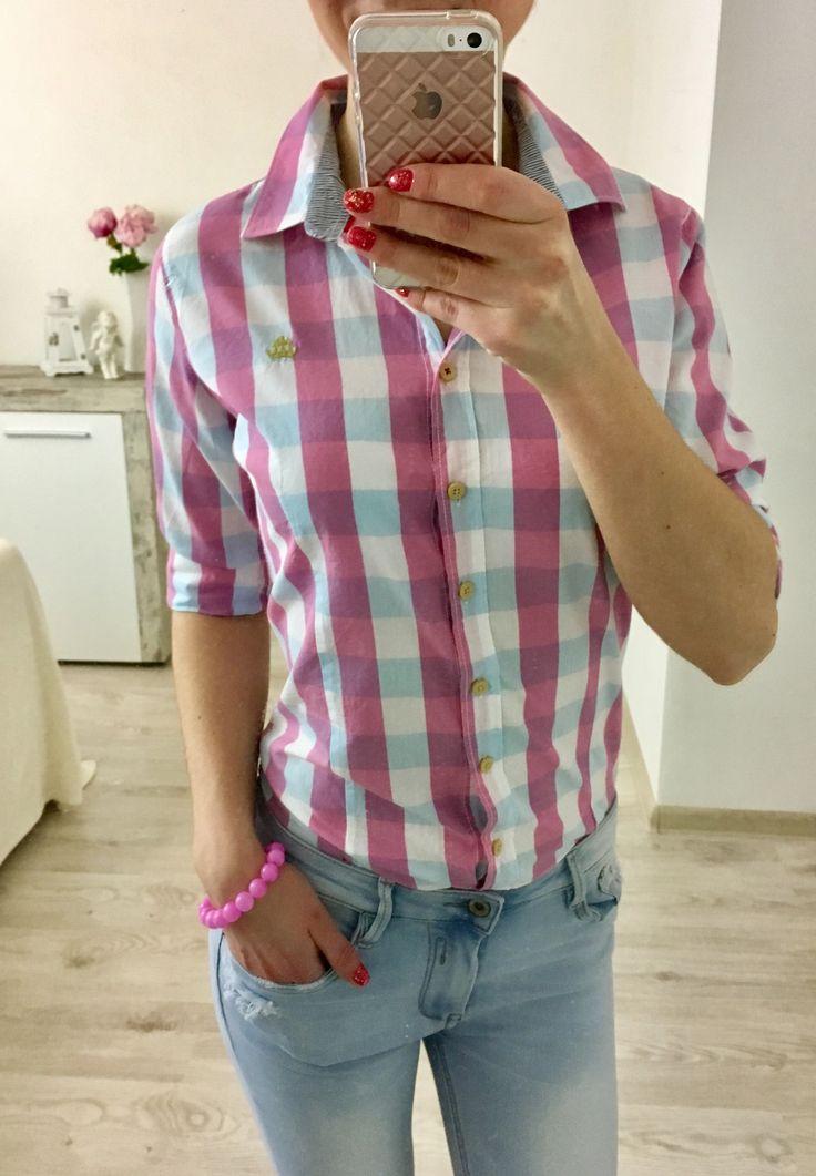 Dámska károvaná košeľa ružová