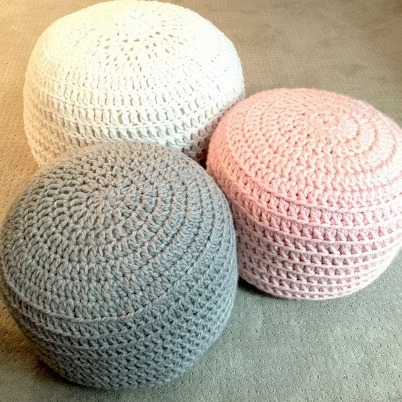 Pink and Grey Blue Hand Crochet Ottoman Pouf, Footstool, Cushion! STUFFED! Perfect Christmas gift for the holidays!