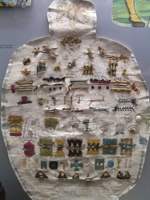 This is an amazing Surgical suture sampler, circa 18th century, from the Zurich Medical History Museum in Switzerland.