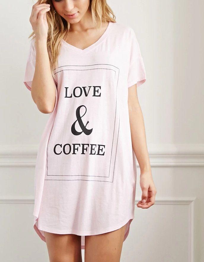 Stylish Sleepwear - Love & Coffee Night Dress from Forever21