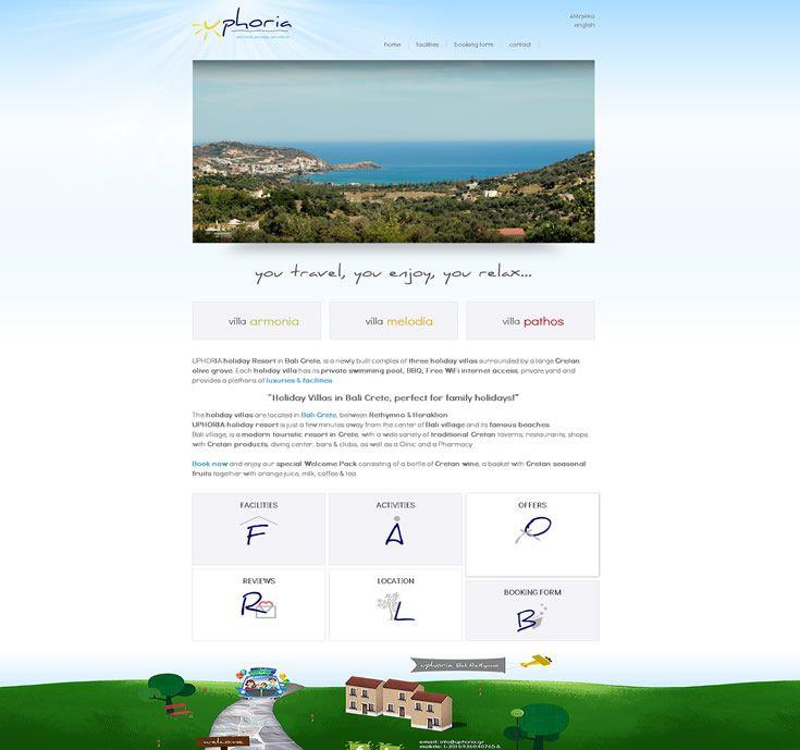 www.uphoria.gr Δραστηριότητα:Βίλες διακοπών στο Μπαλί Κρήτης, ιδανικές για οικογενειακές διακοπές! Τύπος έργου: