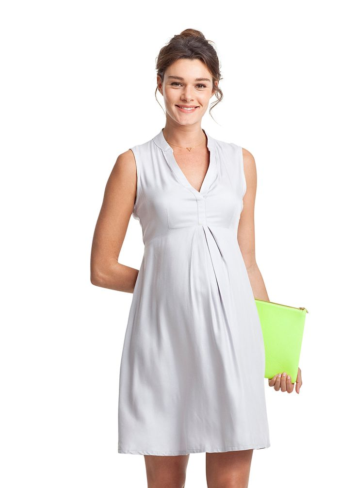 Albyn Maternity Summer Dress - Haze Grey | Maternity Work Dresses | Isabella Oliver US