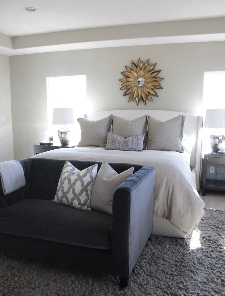 Henry Walker Model Home. Interior Design and Furniture by Alice Lane Home Collection CITY: Heber City, Utah PHOTOGRAPHY: Eliesa Findeis (master bedroom, end of the bed sofa, sunburst mirror, bedding, light, bright, nightstands)