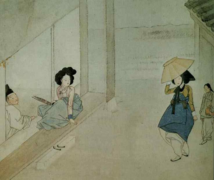 Shin Yun Bok / Hyewon : Whiling away the hours at a cheongru 청루소일(靑樓消日)
