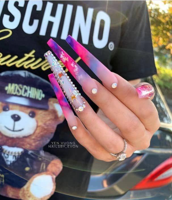 New Nail Trend Extra Long Nails The Glossychic Long Acrylic Nails Bling Acrylic Nails Pink Acrylic Nails