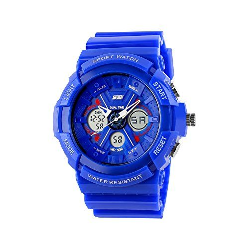 Boys Watch, Sports Watches, LED Analog Digital Display Watches Sport Waterproof for Boy Girls Kids Blue  1.Analog-digital dual time display,Japanese quartz and electronic dual movement.  2.High-quality PU plastic strap, harmless to your children's skin.  3.Multifunction: 50M waterproof,alarm,stopwatch,12/24 hours display,chronograph,luminous etc.  4.Suitable for wrist 16cm - 24cm,Over Age 6 years old.It is also very suitable for outdoor sports.  5.A great gifts for your lovely kids.