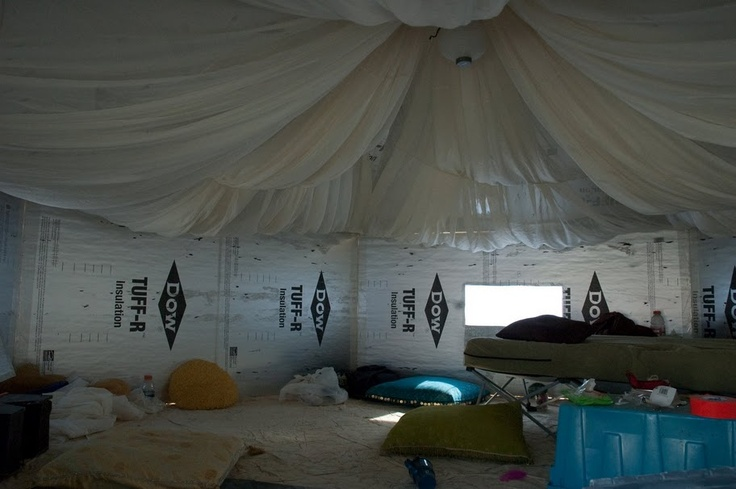 Lovely look to the inside of her hexayurt.