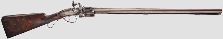 Lock, Stock, and History, Rare Collier flintlock revolving rifle, circa...