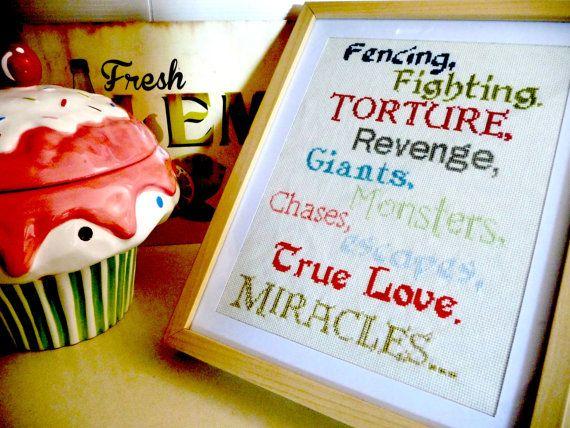 The Princess Bride Cross Stitch Sampler - PDF Pattern - Fencing, Fighting, Torture, Revenge..... $5.00, via Etsy.