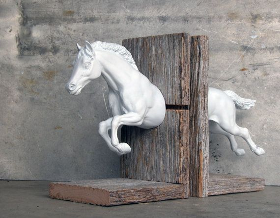 EQUINE COLLECTION hunter jumper horse bookend in white. $165.00, via Etsy. Cool! Not that I would ever pay that much for bookends, but I do love them :)