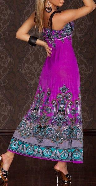 Lightweight Summer Fleur Cyclamen Maxi Dress