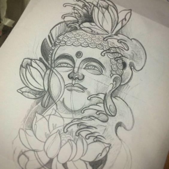 #sketch#buddha#buddhatattoo#tattoosketch#flash#japanese#inprogress#draw#drawing#bozza#today#work#legtattoo#start#flowers#lotus#lotustattoo