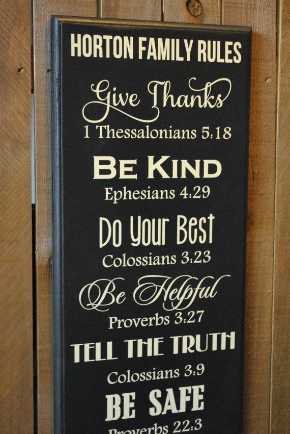 Gift Personalized Christian Family Rules Sign By
