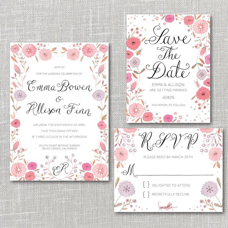 Bright Flowers Printable Wedding Invitation Suite with custom hand lettered names By Julianna Swaney