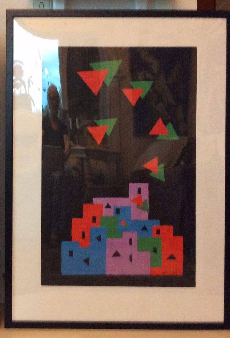 """Fra serien """"Et øjebliks klarsyn"""" II, fra 1988/89 Akryl på glasvæv. Med passepartout 70 x 100 cm"""