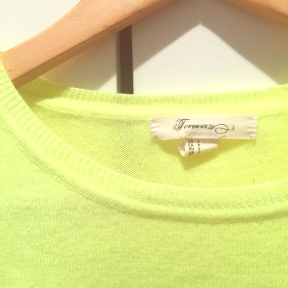 Forever 21 Lime Acrylic Small Sweater This listing is for a Forever 21 Sweater. Size: Small Color: Electric Lime  Material: Acrylic Condition: Like New Perfect color to make fall exciting and bright!! Bundle with any other of my listings for an additional 10% off. ENJOY :) Forever 21 Sweaters Crew & Scoop Necks
