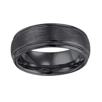 Triton Men's 8.0mm Comfort Fit Black Tungsten Wedding Band - Zales