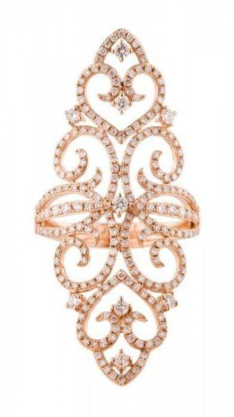 Rose Gold Filigree Diamond Ring
