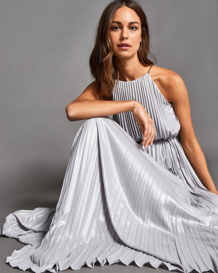 Metallic pleated maxi dress - Silver | Dresses | Ted Baker UK