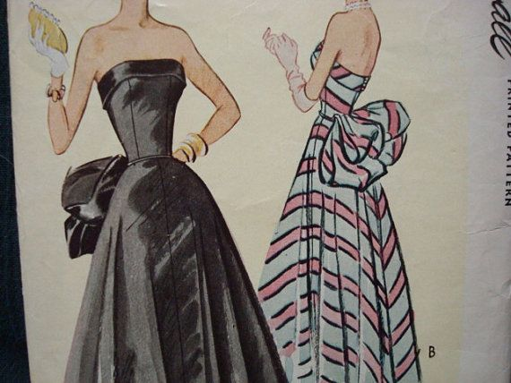 1950s Formal Evening Gown Ball Gown Strapless Fitted by kinseysue