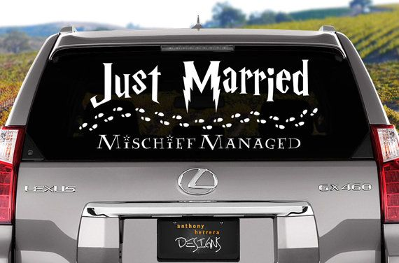 Harry Potter themed Just Married wedding vinyl window cling decal. Decorate your car or any window with geek love. Set includes phrase Just