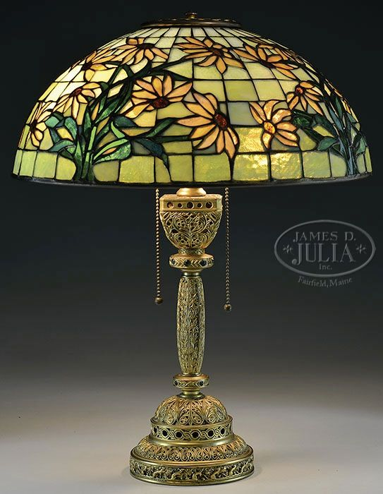 TIFFANY STUDIOS VENETIAN TABLE LAMP BASE WITH AMERICAN LEADED SHADE.