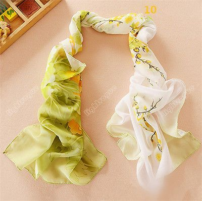 Fashion Flower Peacock Silk Chiffon Neck Scarf Wrap Shawl Stole Neck Wrap Women