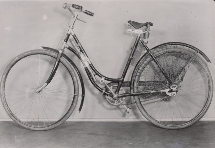 Bicycle, abandoned by Jozef Gabčík near place of the assassination attempt. This ladies' bicycle was belonged to Marie Moravcová, most famous helper of the paratroopers.