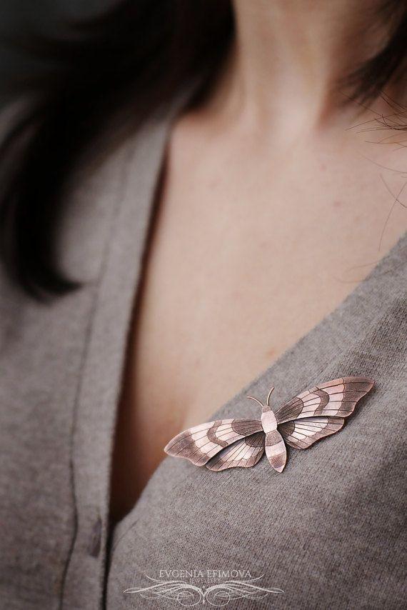 Moth handmade copper brooch https://www.etsy.com/ru/listing/494900822/moth-butterfly-copper-brooch-copper