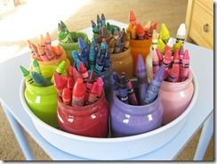 What to do with baby food jars...color them to organize and teach the kids to put colors away in the right colored jar.