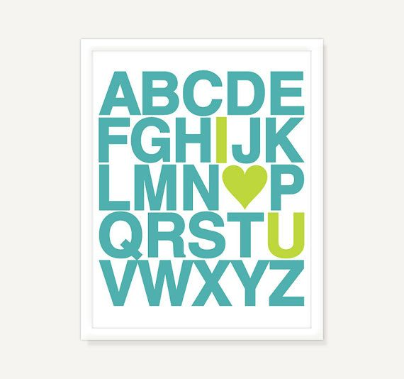 Nursery Art Alphabet Poster w Heart  Custom by ColorbeeLove, $15.00