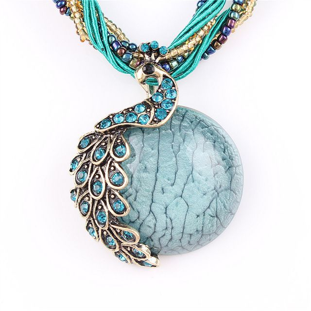 2016 new Peacock decoration rough necklace Female clavicle short chain Turquoise stone pendant necklaces summer style jewelry