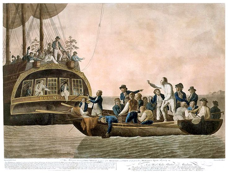 Mutiny on the Bounty | The mutineers turning Lt Bligh and some of the officers and crew adrift from His Majesty's Ship Bounty. By Robert Dodd.