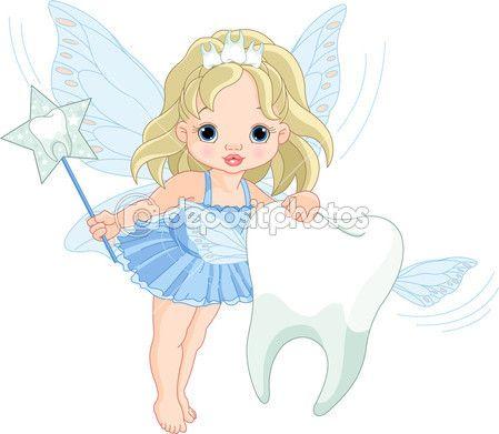 bonita fada voando com dente — Ilustração de Stock #4917962