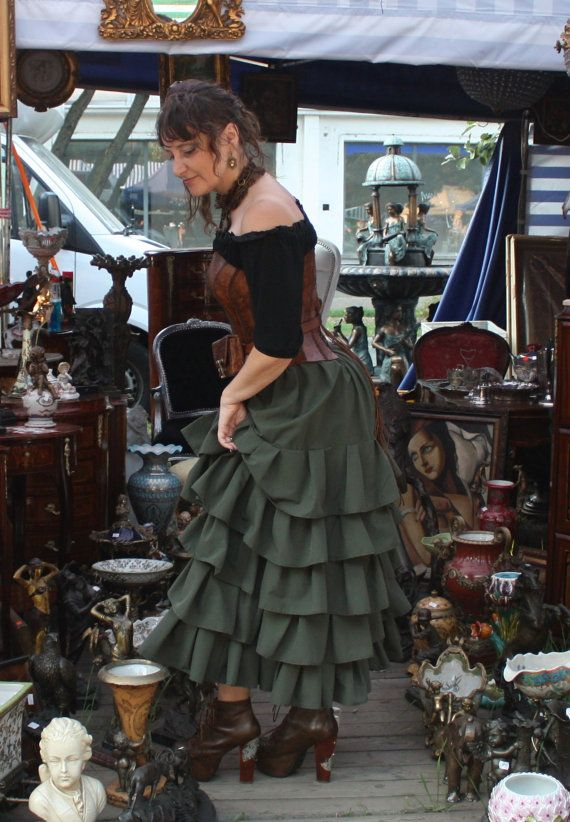 Green elegant asymetrical Steampunk by SteampunkAndFantasy on Etsy