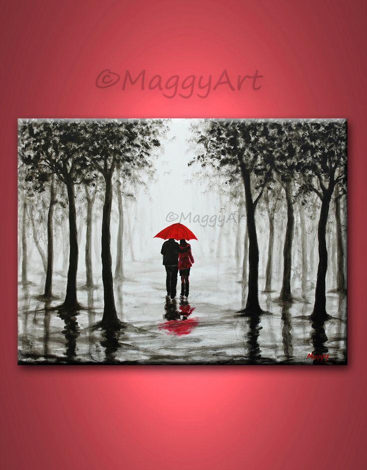 On Saleoriginal abstract painting walking in rain by maggyart