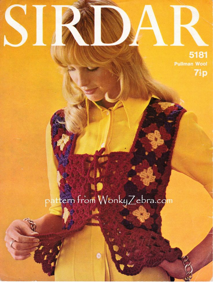 A beautiful medieval style top made with crochet granny squares; very vintage 70s...very pretty ...and cosy! WonkyZebra PDF WZ727 from vintage crochet pattern Sirdar5181