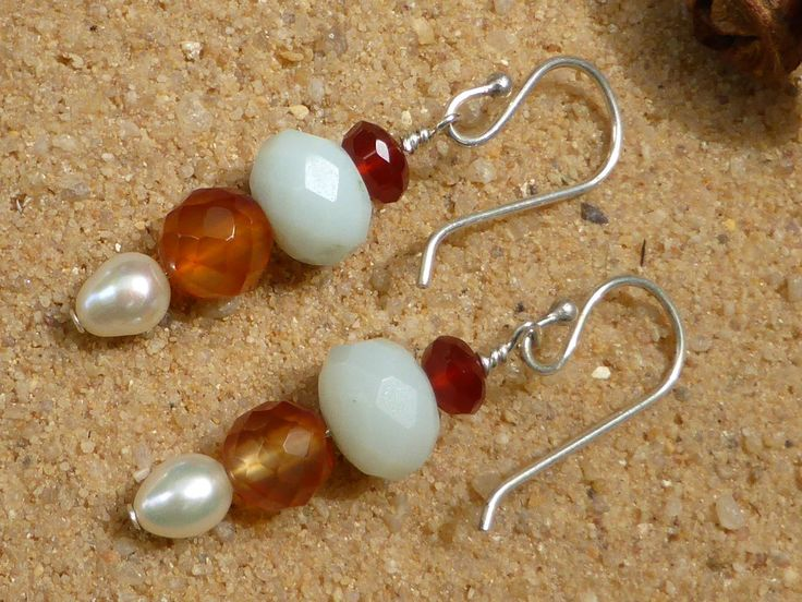 Carnelian Amazonite Earrings Pearl Sterling Silver Faceted Multigemstone Gemstone Jewellery Artisan Bohemian Style Spring Colours Designer by Lapideum on Etsy