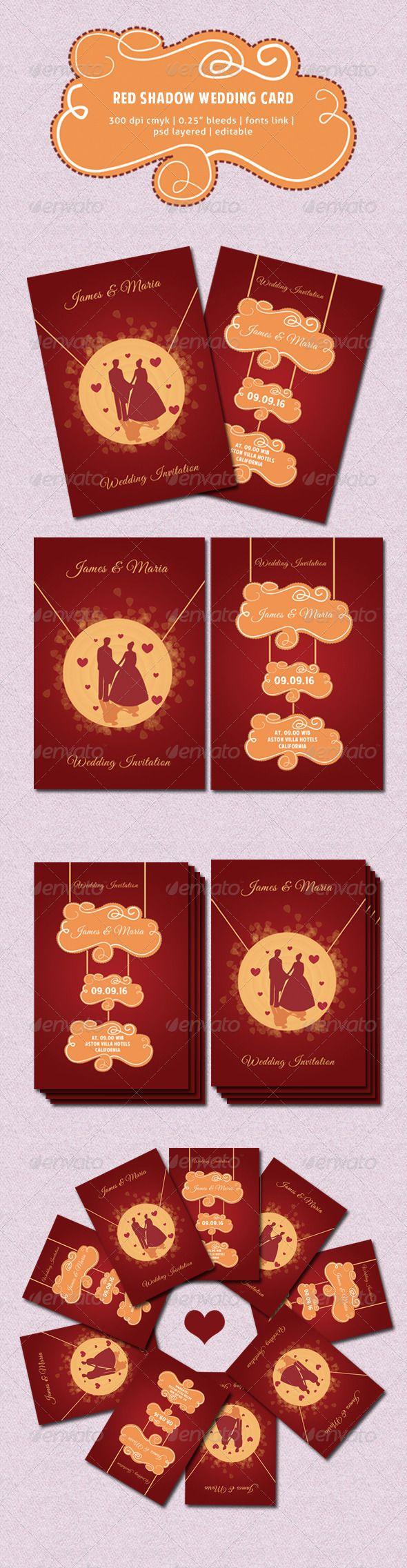 Red Shadow Wedding Card
