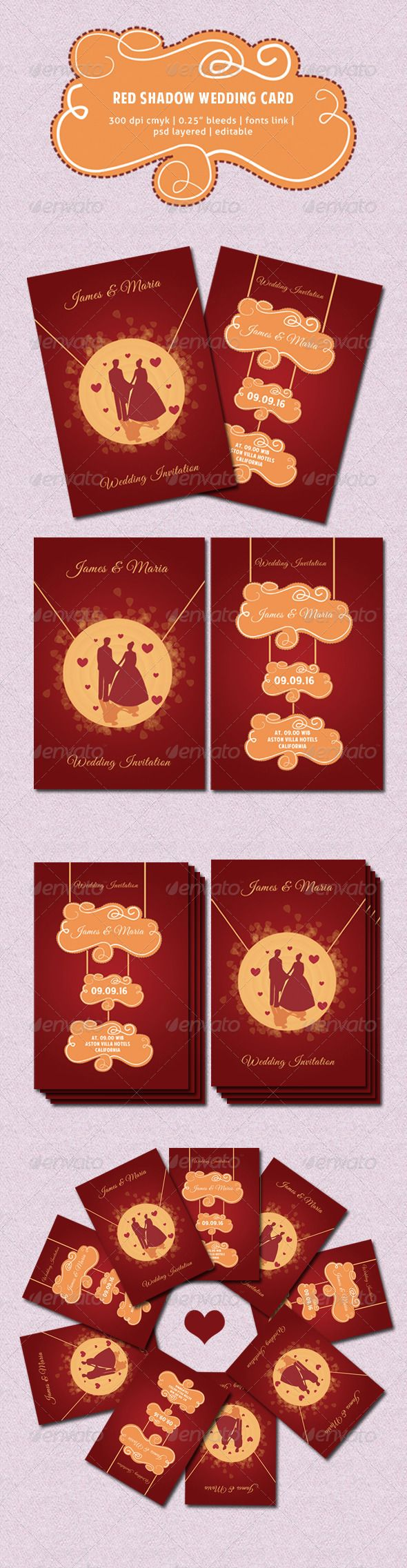 Red Shadow Wedding Card