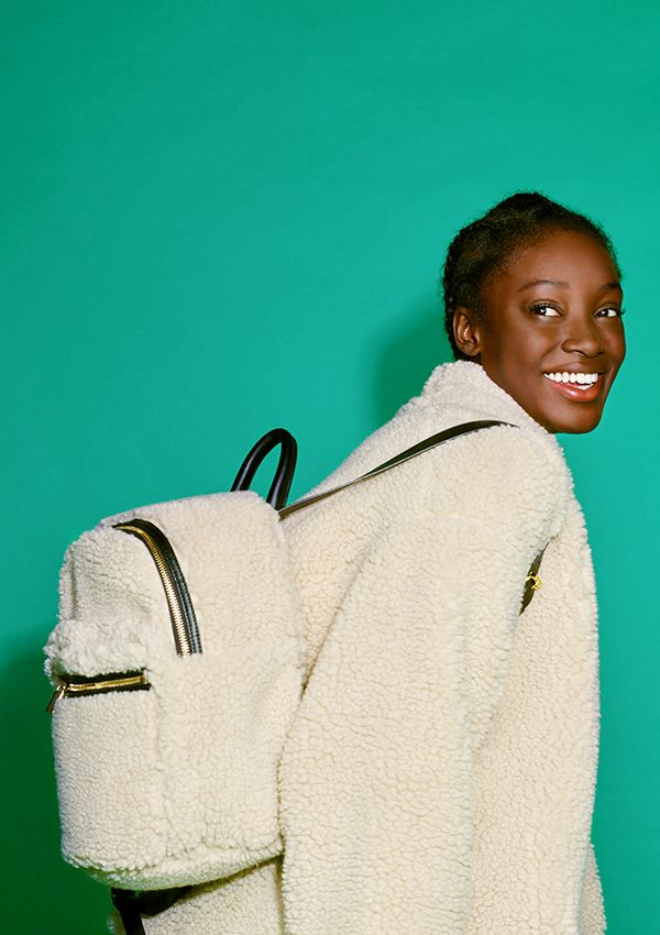 A massively special faux shearling backpack designed as a signature accessory for Monki's 10 year B-day collection.