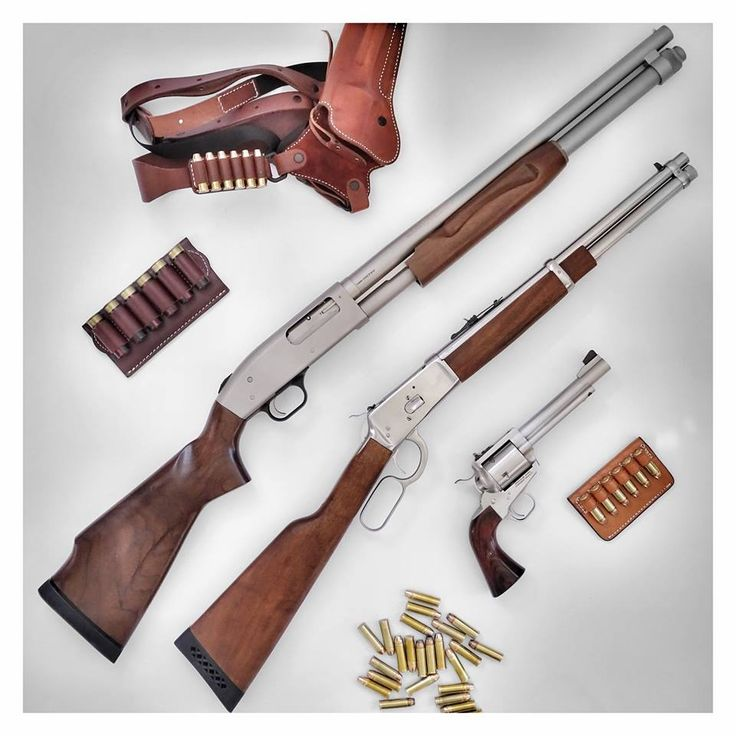 Mossberg 590 Mariner (12-gauge) pump action shotgun, Rossi M92 (.454 Casull) lever action carbine and Freedom Arms M83 (.454 Casull) single action revolver.